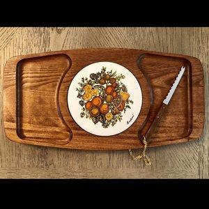 NWOT Vintage MCM Goodwood Teak Wood cheese tray